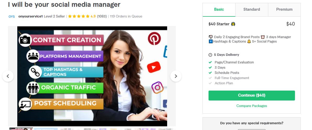 best social media manager fiverr gig